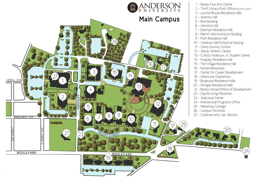 Campus Map Anderson University