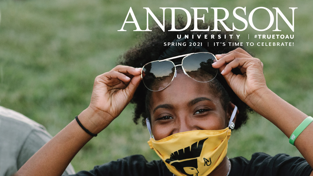 Cover image of the spring 2021 edition of the Anderson University magazine featuring a young woman with sunglasses and smiling