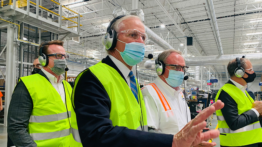 South Carolina Governor Henry McMaster tours Electrolux's Anderson County factory.