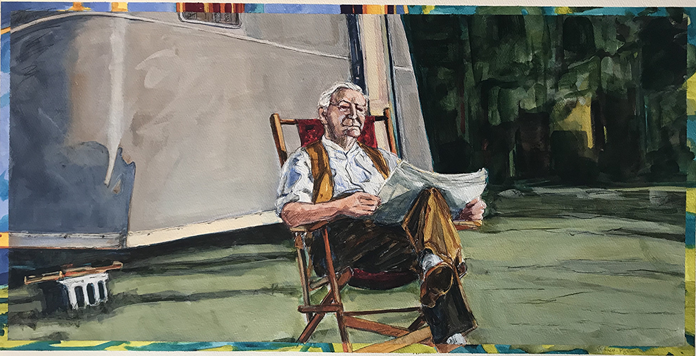 The painting Beyond Words, by Anderson University Professor Jo Carol Mitchell-Rogers, shows an elderly man outdoors reading a newspaper.