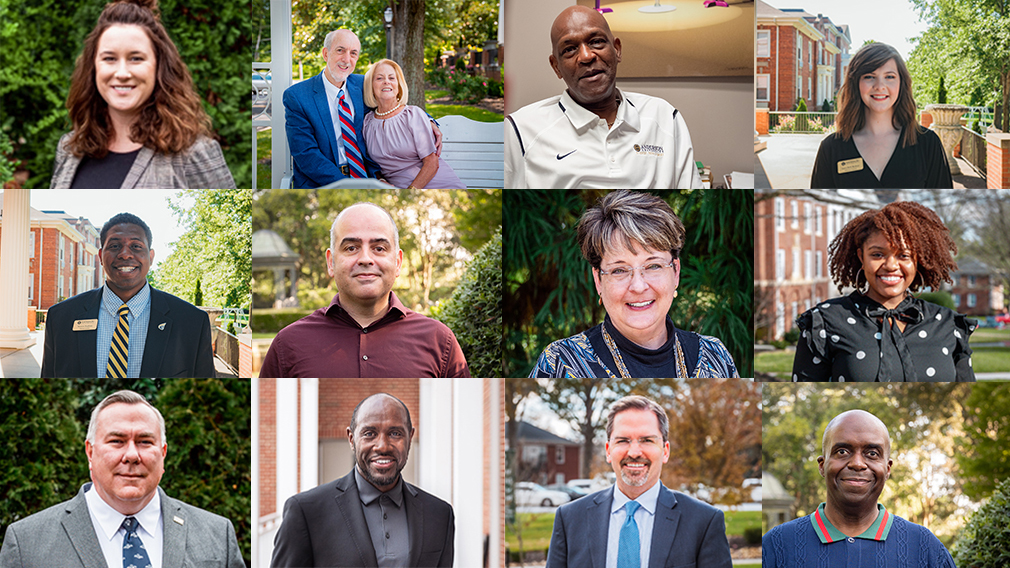 A collage of images showing the faces of Anderson University employees.