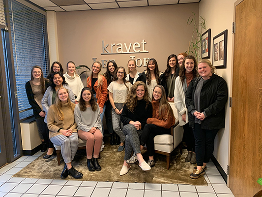 The sophomore class of interior design students toured the Kravet distribution facility in Anderson.