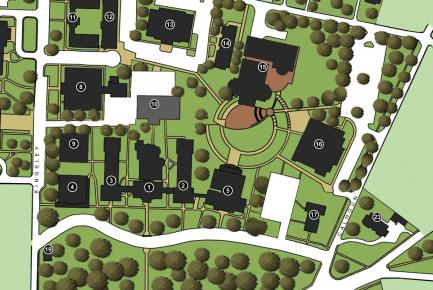 drawing of the campus map